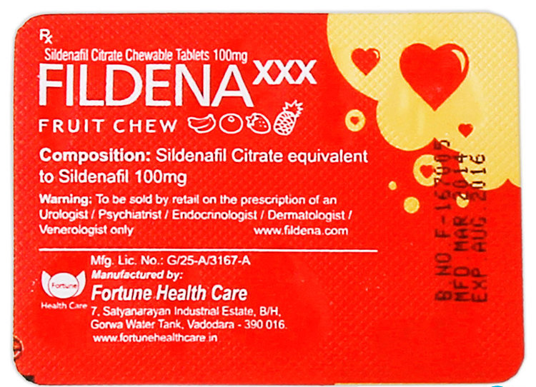 FILDENA XXX 100mg Chewable Tablets 4шт.